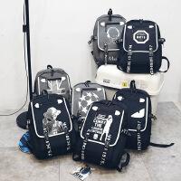 学生书包中小学学生男孩子背包旅行包休闲包大容量学院风初中书包