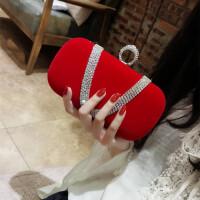201805120611181022018新品丝绒水钻指环包女小手拿包晚宴包链条斜跨宴会包名媛女包