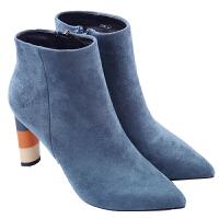 2018秋冬新款韩版尖头时尚羊反绒粗跟马丁靴侧拉链高跟短靴加绒女靴真皮