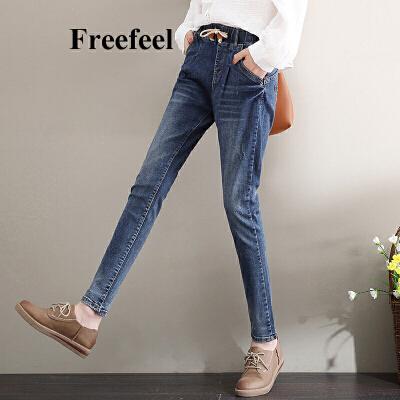 Freefeel2018春夏新款牛仔裤女长裤韩版修身显瘦松紧腰细带铅笔裤