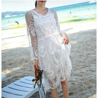 2018新款韩国宽松长袖沙滩外套比基尼泳衣罩衫性感蕾丝长裙沙滩裙 均码