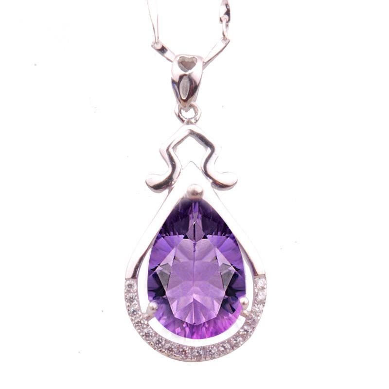 梦克拉 S925银镶紫水晶水滴吊坠 抚心 春暖花开 行走的高级感 耀眼夺目 更出色
