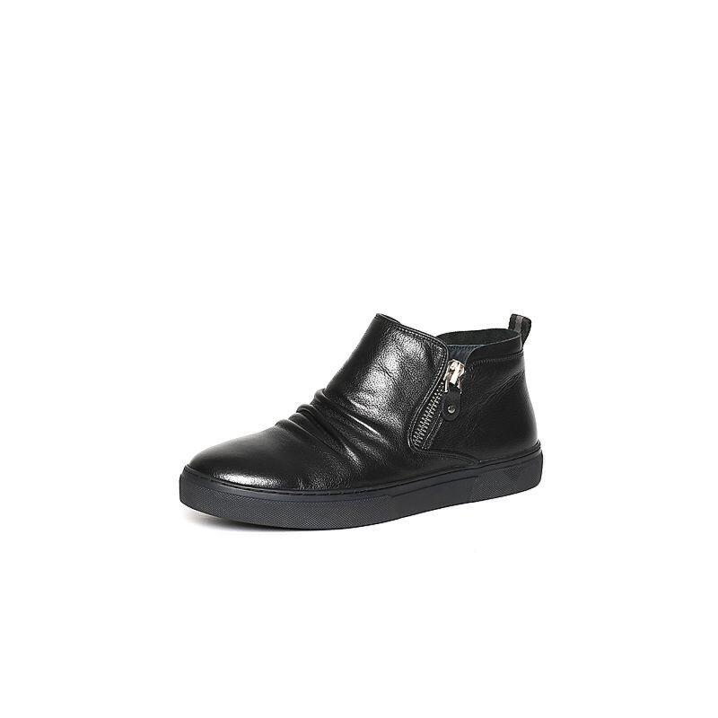 Belle/百丽冬季专柜同款黑牛皮革男休闲靴(绒里)4NR01DD6