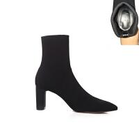 ZR 新品女鞋秋冬新款黑色面料尖头高跟粗跟短靴弹力短靴袜靴