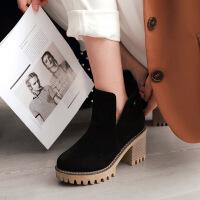 彼艾2018秋冬新款粗跟防水台高跟短靴女鞋子圆头厚底踝裸靴马丁靴