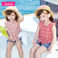 【119元4件价:29.8】笛莎童装女童衬衫夏季新款儿童女小童宝宝宽松短袖格子衬衫女