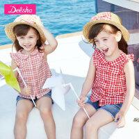 笛莎童装女童衬衫2019夏装新款儿童女小童宝宝宽松短袖格子衬衫女