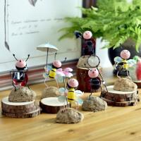 创意铁皮小蜜蜂甲虫家居房间装饰品客厅电视柜儿童房工艺品摆件送人礼品