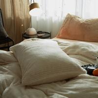 法兰绒枕套 日式简约条纹加厚防掉毛单人枕头套一对装 48cmX74cm