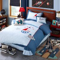 纯棉男童小孩四件套床上用品宝宝儿童高低床上下床床上用品3件套
