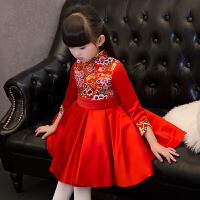 儿童礼服春季女童长袖公主裙中式复古儿童旗袍演出服拜年小礼服红48 红色