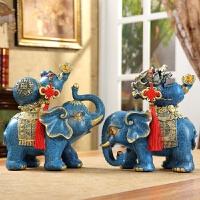 大象摆件一对招财镇宅风水象客厅欧式玄关酒柜装饰品开业结婚礼品