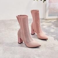 网红短靴女春秋款2018新款瘦瘦弹力矮靴子女高跟鞋女冬季粗跟袜靴lkf