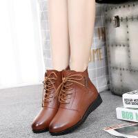 冬季真皮妈妈棉鞋加绒保暖女士短靴平底防滑中年雪地靴系带女靴子SN6231