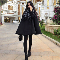 毛呢外套女中长款2017秋冬新款韩版显瘦红色斗篷羊毛呢子大衣加厚