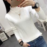 毛衣女秋冬韩版半高领套头打底衫短款修身加厚长袖麻花针织衫