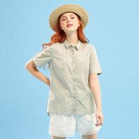 【1件3折到手价:40.8】美特斯邦威短袖衬衫女纯棉半袖港风味上衣刺绣领潮夏装新款