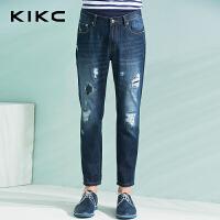 kikc牛仔裤男2018夏季新款青少年个性潮流韩版破洞休闲小脚长裤男