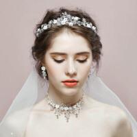 新娘头饰花朵结婚饰品皇冠项链耳环三件套婚礼发饰配饰