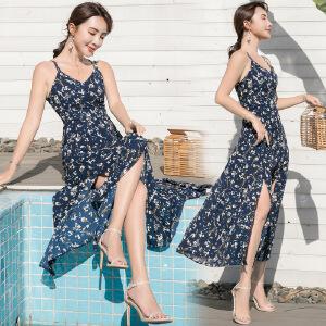 沙滩裙女夏2018新款显瘦海边度假长裙吊带露背雪纺连衣裙仙