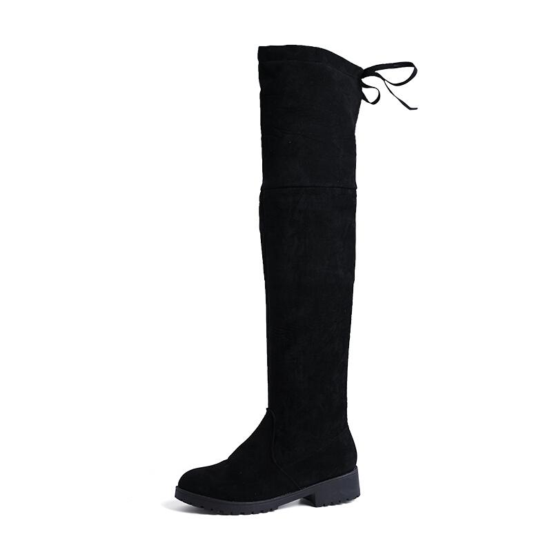 过膝长靴子女秋冬季2018新款瘦瘦弹力骑士长筒靴粗软底