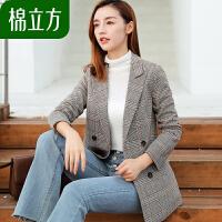 ins格子短款小西装外套女韩国春季2019新款棉立方英伦风chic上衣