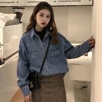 两件套牛仔衬衫外套女长袖2018春款新款韩版学生衬衣+高领背心潮