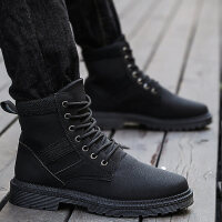 马丁靴男靴子中帮工装棉靴冬季保暖加绒棉鞋高帮防水雪地短靴srr
