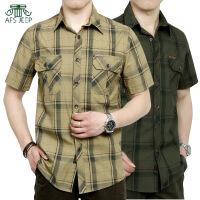AFS JEEP短袖衬衫战地吉普夏季新款大码休闲薄款短袖衬衫男5002