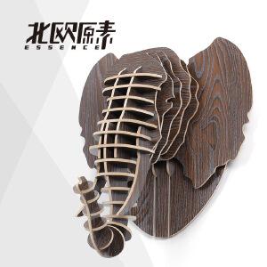 【礼品卡+全店满减】幸阁 置物架书架 原素大象头像 北欧ins亲子创意复古 动物墙壁挂饰木制摆件