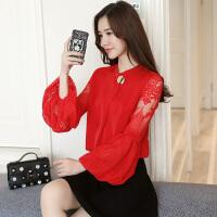 春夏季韩版女装圆领宽松雪纺衫长袖蕾丝打底衫灯笼袖上衣