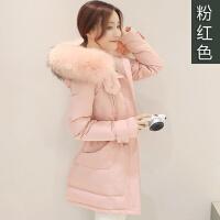 大毛领羽绒服女中长款新款韩版冬装加厚潮 粉红色 貉子真毛领 S 适合85-106斤