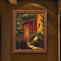 装饰画 有框画 油画 东南亚 复古风格 过道 玄关挂画 家装饰品 军绿色 40X52 单幅