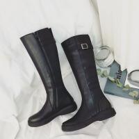 长筒靴子女冬2018新款韩版百搭高筒靴显瘦加绒骑士长靴圆头皮靴潮 黑色 皮带扣(绒里)