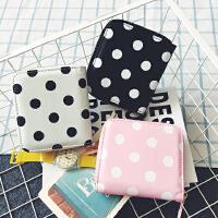 韩版可爱迷你波点短款拉链手拿钱包零钱包女式卡包对折迷你小钱夹