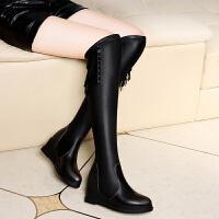 古奇天伦 过膝靴2017新款长靴女靴子秋冬季平底长筒弹力靴潮 GQ8552