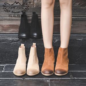 玛菲玛图切尔西短靴女秋季新款欧美磨砂羊皮短筒圆头中跟单靴粗跟裸靴6115-5