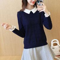 秋冬款甜美假两件套衬衫领上衣针织衫女长袖带领打底衫娃娃领毛衣