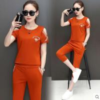 户外运动套装女 露肩短袖七分裤 短款跑步两件套休闲服韩版潮衣服