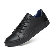 秋季男鞋韩版潮流板鞋真皮小黑鞋百搭青年英伦皮鞋男士休闲鞋系带