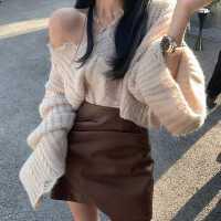 2020新款�n版�r尚�杉�套��松�L袖毛衣PU皮半身短裙�W�t套�b女秋冬