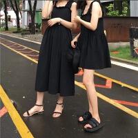 夏季韩国cic风褶皱黑色小飞边肩带娃娃裙高腰无袖背心连衣裙女
