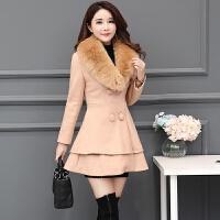 毛呢外套女中长款2018秋冬季新款毛领加厚双排扣韩版修身呢子大衣