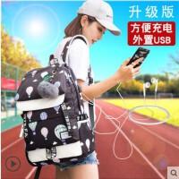 韩版双肩包男背包运动电脑包休闲旅行包潮流大中学生个性书包男包