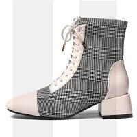 欧洲站女鞋2018秋冬新款方头英伦瘦瘦小跟短靴粗跟百搭短筒靴加绒SN3504