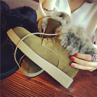 欧洲站冬季新款真皮羊毛短靴女士系带马丁靴学生平底保暖休闲女鞋
