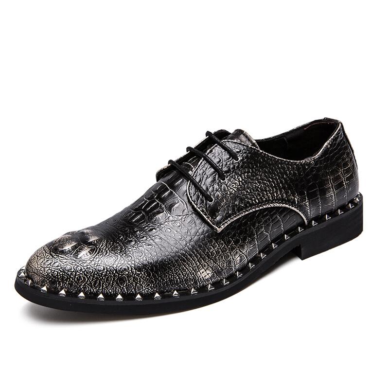鳄鱼纹男士尖头皮鞋韩版时尚青年发型师内增高英伦休闲商务皮鞋男