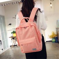 韩版大容量手提帆布双肩包简约学院风女中学生书包电脑包旅行包