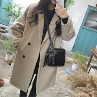 女装韩版中长款毛呢外套女秋冬学生显瘦学院风大衣女