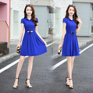 女装夏季韩版中长款衣服夏天连衣裙子雪纺